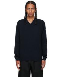 Moncler Navy Cashmere V Neck Sweater