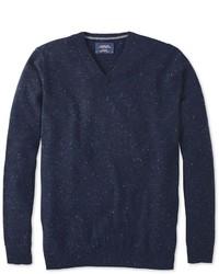Charles Tyrwhitt Navy Donegal V Neck Sweater