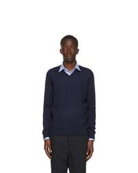 Lanvin Navy Merino V Neck Sweater