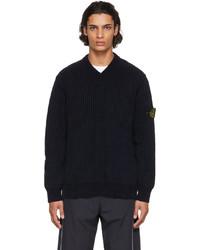 Stone Island Navy Rib Knit V Neck Sweater