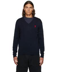 AMI Alexandre Mattiussi Navy V Neck Ami De Cur Sweater