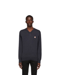 MAISON KITSUNÉ Navy Wool Fox Head V Neck Sweater