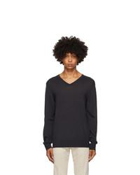 Z Zegna Navy Wool V Neck Sweater