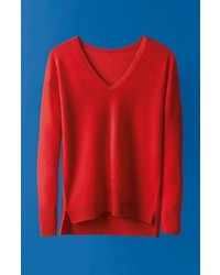 Petite Halogen V Neck Cashmere Sweater