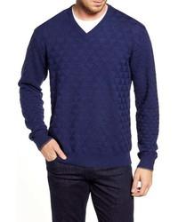 Robert Graham Randie Regular Fit Jacquard V Neck Sweater
