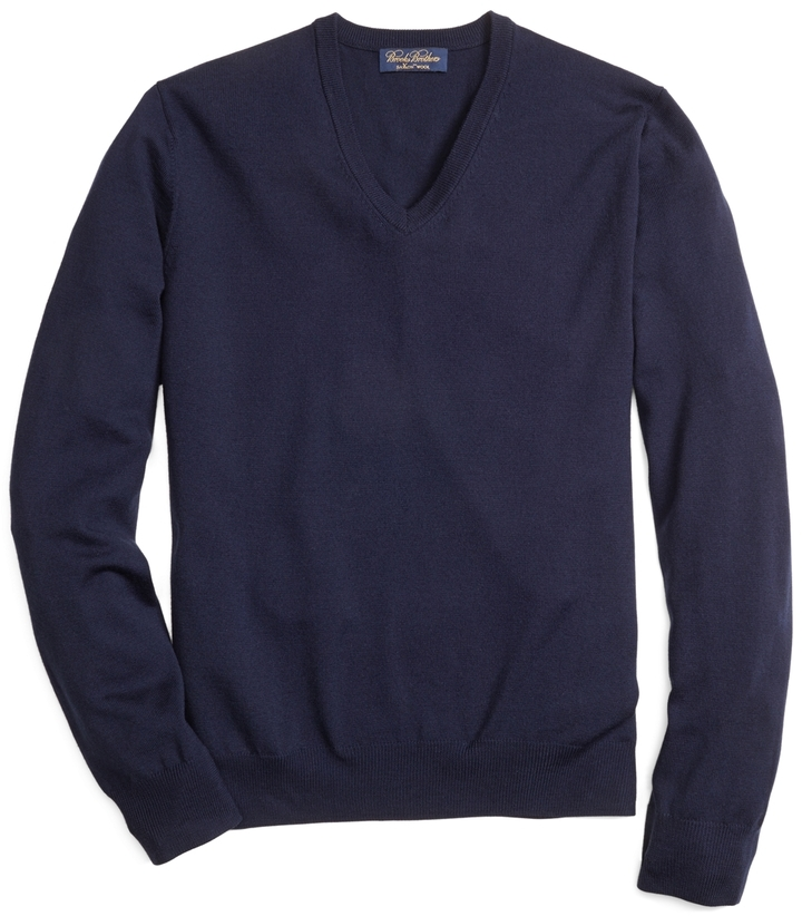 Brooks Brothers Saxxon Wool V Neck Sweater | Where to buy & how to ...
