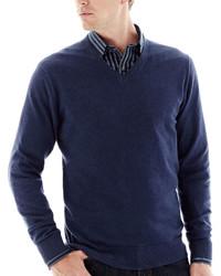 Claiborne Solid Cotton Cashmere V Neck Sweater