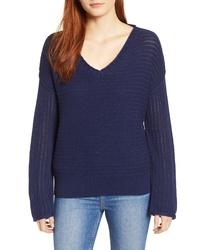 Caslon Tuck Stitch V Neck Sweater