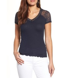 Becka lace sleeve v neck tee medium 4343915