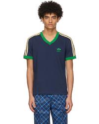 Wales Bonner Navy Adidas Edition Striped V Neck T Shirt