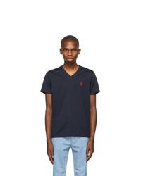 Burberry Navy Marlet V Neck T Shirt