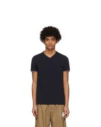 Moncler Navy V Neck T Shirt