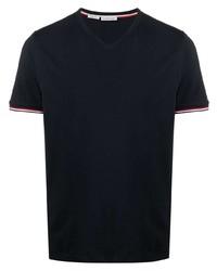 Moncler V Neck Logo Patch T Shirt