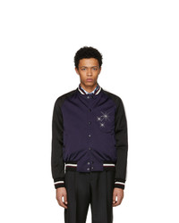 Lanvin Black And Purple Satin Starlight Baseball Jacket