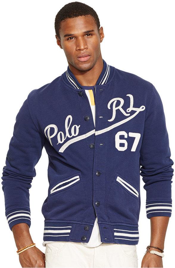 a5287b8ff86c ... Polo Ralph Lauren Fleece Baseball Jacket ...
