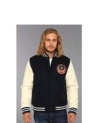 Obey Cresent Moon Varsity Jacket Coat Navy