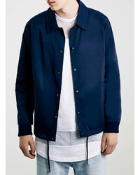 Topman Navy Nylon Coach Jacket