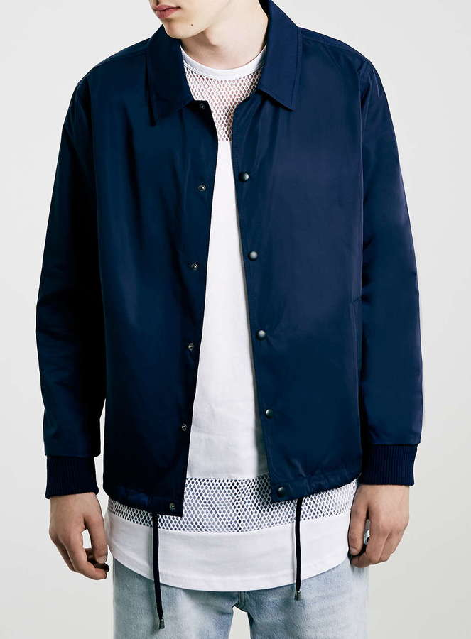 Topman Navy Nylon Coach Jacket | Where to buy & how to wear