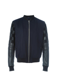 Lanvin Varsity Style Bomber Jacket Blue