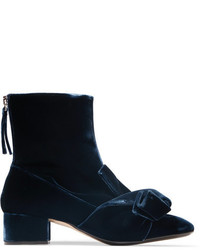 No.21 No 21 Knotted Velvet Ankle Boots Navy