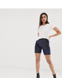 Missguided Velvet Legging Shorts In Dark Blue