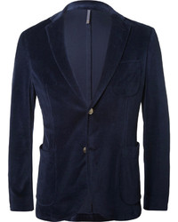 Incotex Blue Slim Fit Velvet Blazer