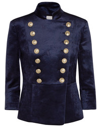 PIERRE BALMAIN Double Breasted Stretch Velvet Blazer Navy
