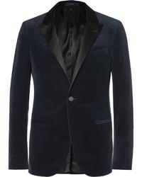 Lanvin Navy Slim Fit Satin Trimmed Cotton Velvet Tuxedo Jacket