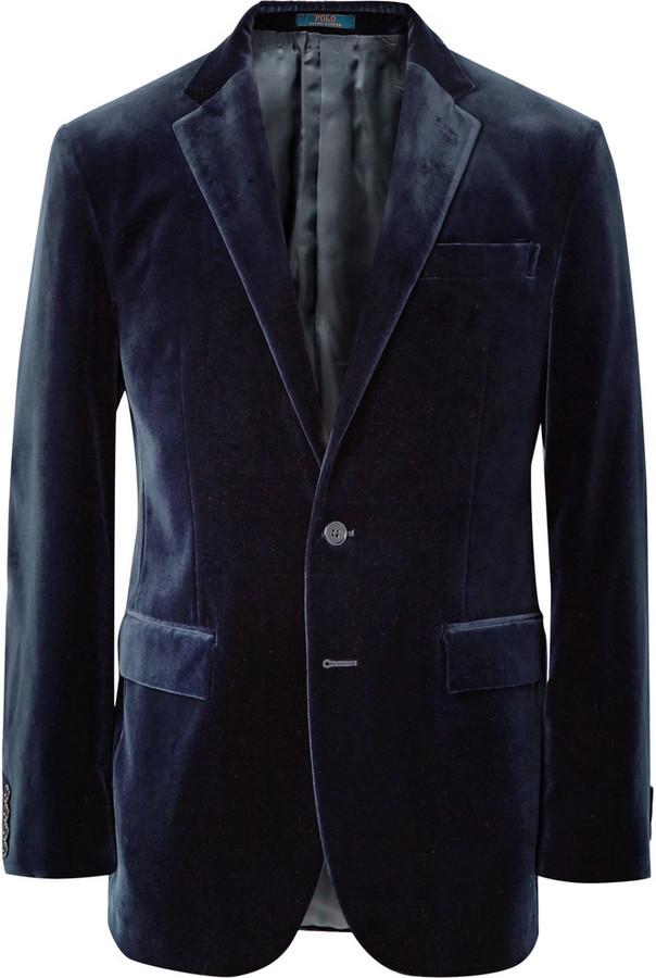 Polo Ralph Lauren Polo Ralph Lauren Navy Slim-Fit Velvet Blazer ... 05d2a7c65f7