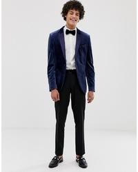 ASOS DESIGN Skinny Tuxedo Blazer In Navy Velvet