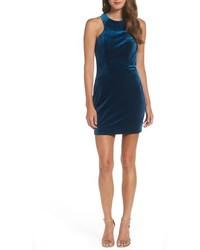 La Femme High Neck Velvet Body Con Dress