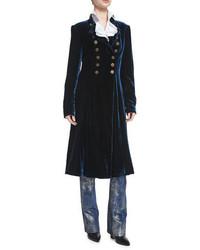 Ralph Lauren Collection Benita Velvet A Line Coat Prussian Blue