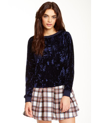 Navy Velvet Crew-neck Sweater
