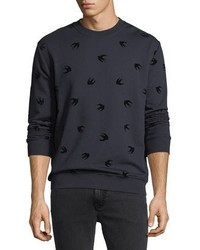 McQ Alexander Ueen Flocked Swallow Sweatshirt