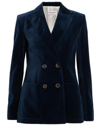 Faux leather trimmed double breasted cotton velvet blazer midnight blue medium 5083223