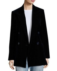 Acne Studios Jara Velvet Double Breasted Long Blazer Dark Blue