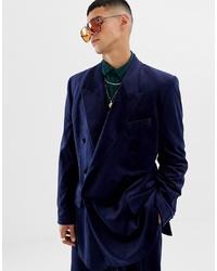 ASOS DESIGN Slouchy Suit Jacket In Navy Velvet