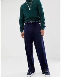 ASOS DESIGN Slouchy Suit Trousers In Navy Velvet