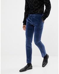 Twisted Tailor Super Skinny Suit Trouser In Navy Velvet