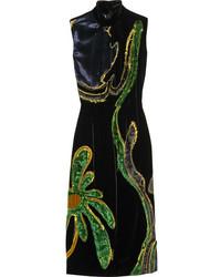 Prada Appliqud Paneled Velvet Dress Navy