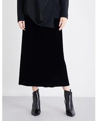 Jil Sander A Line Velvet Midi Skirt