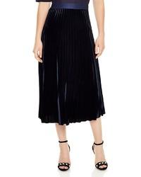 Sandro Caro Velvet Pleated Midi Skirt
