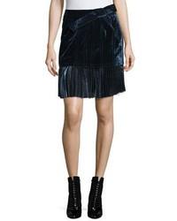 3.1 Phillip Lim Sculpted Velvet Mini Skirt Sapphire