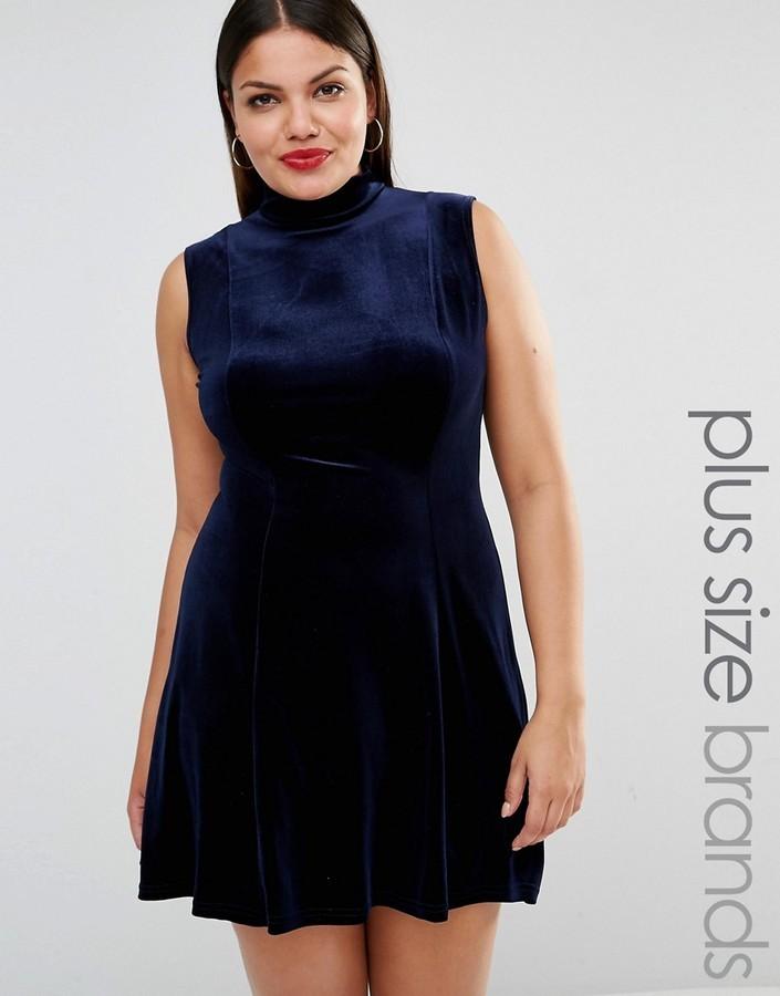 $40, Club L Plus High Neck Velvet Skater Dress
