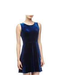 Velvet by graham spencer velvet fit flare dress navy medium 840171