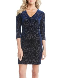 Navy Velvet Sheath Dress