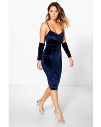 Boohoo Annie Velvet Open Sleeve Bodycon Dress