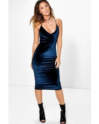 Boohoo Lila Velvet Strappy Slip Dress
