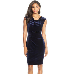 Vince Camuto Cowl Neck Velvet Sheath Dress
