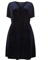 Dorothy Perkins Dp Curve Navy Velvet Wrap Dress